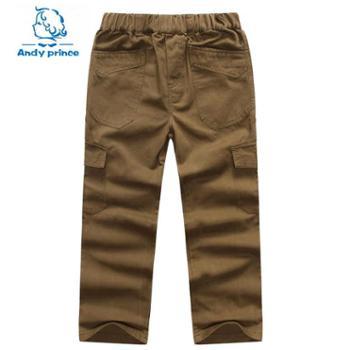 安丽王子 春款男童纯棉长裤 中大童装棉裤多袋裤 儿童工装裤