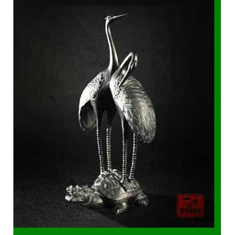 双鹤龟摆件新古典恩爱仙鹤装饰品壁炉电视柜摆件样办间摆设装饰品