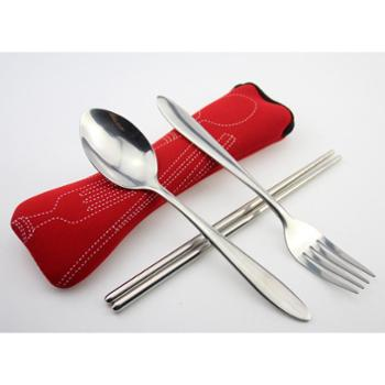 【橙屋】布袋餐具套装 勺叉筷三件套 不锈钢餐具 超值