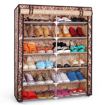 亿银双排6层简易欧式加固鞋柜 大容量宜家ikea无纺布鞋柜