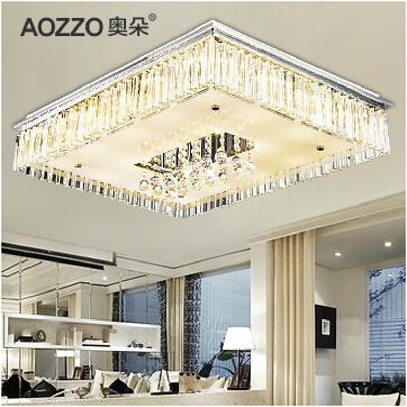 水晶灯饰长方形客厅现代简约温馨大气卧室led吸