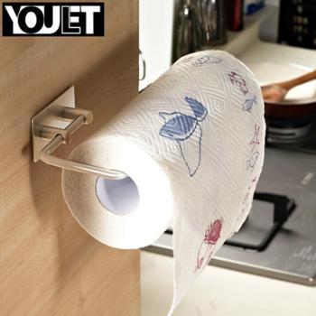德国悠乐 纸巾架 不锈钢厨房厨用卷纸架创意纸巾座免钻孔无痕3m