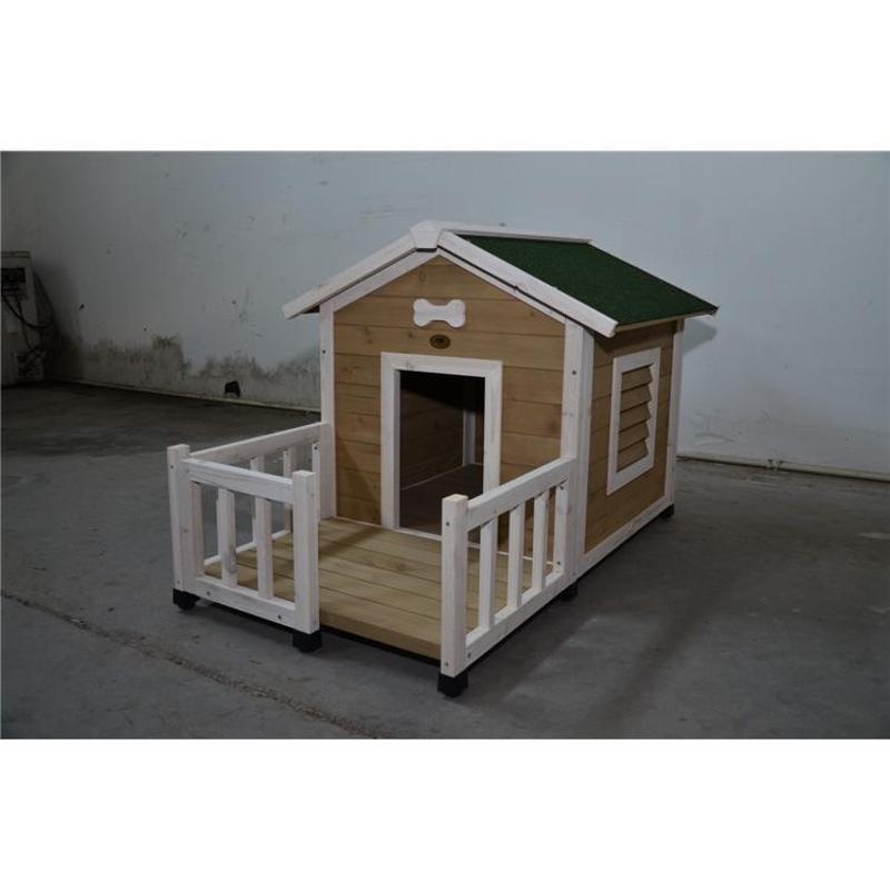欧式带阳台犬舍实木犬舍木质狗房子户外宠物窝防水