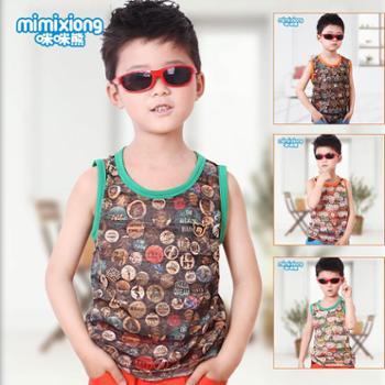 咪咪熊童装夏季新款男童背心儿童前后透气棉T恤63S048