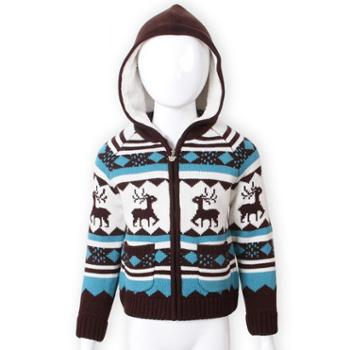咪咪熊童装冬季加厚加绒带帽拉链针织衫男童绣花毛衣外套82W025