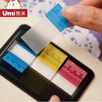 UMI韩国文具用品办公荧光膜指示标签百事贴分类贴荧光便利贴