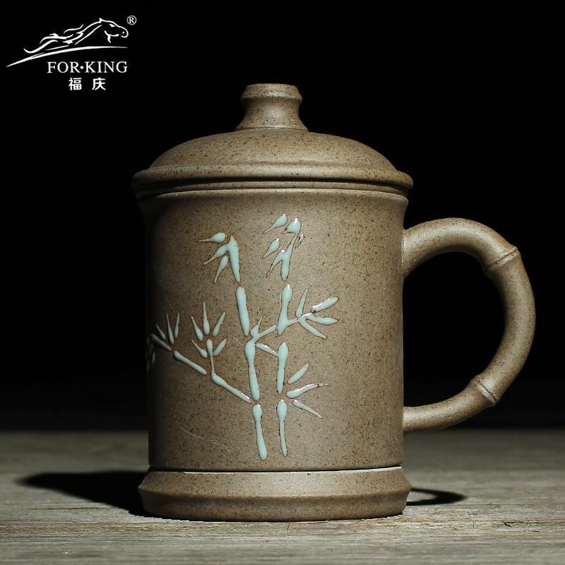福庆茶杯陶瓷柴烧杯子紫砂仿古功夫茶具粗陶茶道办公杯泡茶杯特价