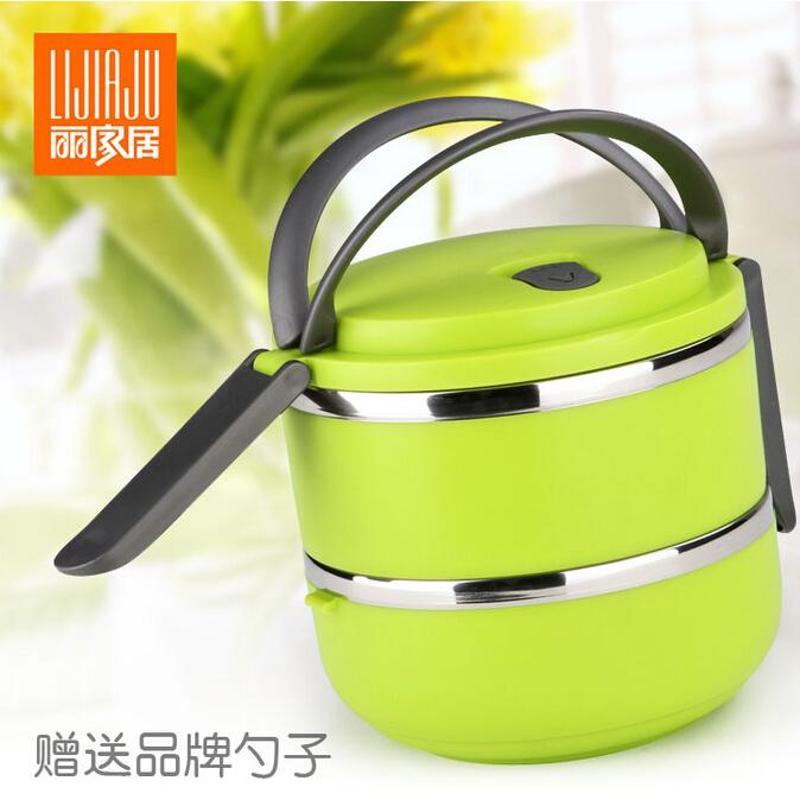 4l便携不锈钢保温饭盒2层学生保温桶餐盒儿童可爱饭盒圆形保温提锅