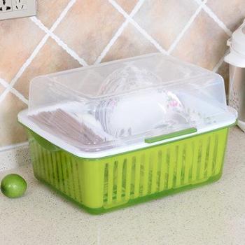 厨房碗柜塑料沥水碗架带盖装碗筷收纳箱放碗盘餐具收纳盒置物架
