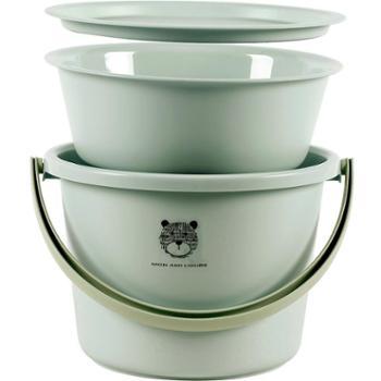 优思居桶盆套装水桶家用加厚塑料手提桶学生宿舍洗脸盆带盖圆桶