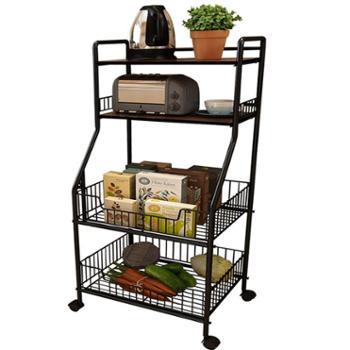 悦宜家厨房置物架厨房用品收纳架落地多层蔬菜调味料碗锅储物架子