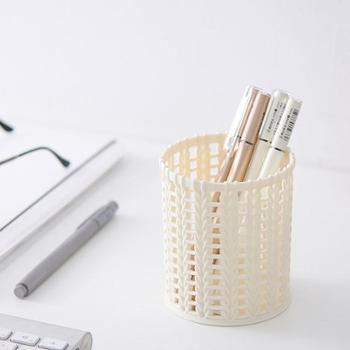 云木杂货创意仿藤编塑料笔筒简约纯色镂空桌面收纳筒化妆筒文具筒