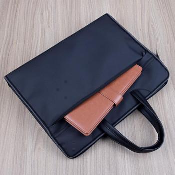 百利文B0062文件袋手提文件包加厚条纹立体公文包多层拉链帆布