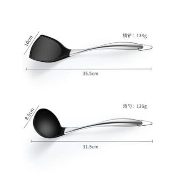 耐高温硅胶铲套装硅胶锅铲小汤勺煎铲漏勺家用炒菜铲子不粘锅厨具