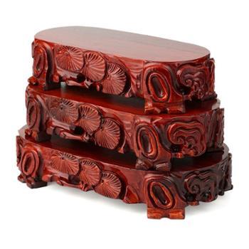 玉器红木奇石底座摆件花瓶花盆玉石底座实木长方形套四底座挖槽