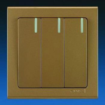 K6系列玫瑰金/纯银 三位单控大跷板开关(带荧光)