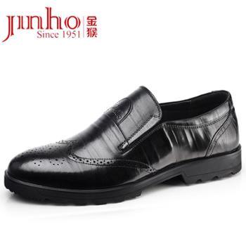 金猴 Jinho 男鞋秋季新款布洛克男鞋英套脚头层牛皮商务正装皮鞋 M28116A/B
