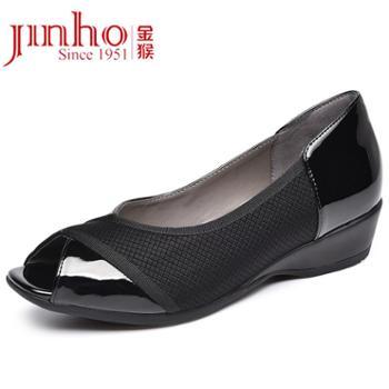 金猴鱼嘴鞋坡跟女鞋套脚休闲鞋低帮浅口鞋皮鞋女凉鞋SQ75018A、C