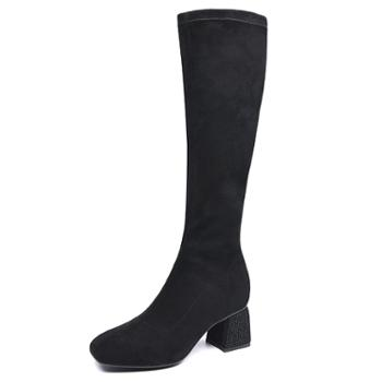 金猴秋季百搭韩版亮钻粗中跟长筒袜靴子绒面高筒弹力布套筒方头女靴Q49041