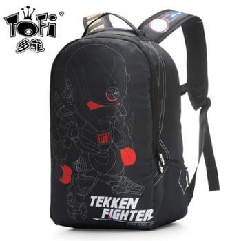 多菲新款大容量欧美动漫双肩电脑背包黑色钢铁侠中学生潮个性书包