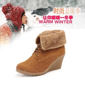 鞋星韩版潮高帮加绒加厚磨砂牛皮女靴时尚坡跟马丁靴反绒翻折两穿鞋
