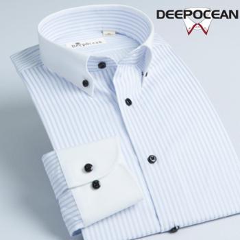 DEEPOCEAN深海新款衬衫男长袖修身男士衬衣纯棉条纹商务休闲男装