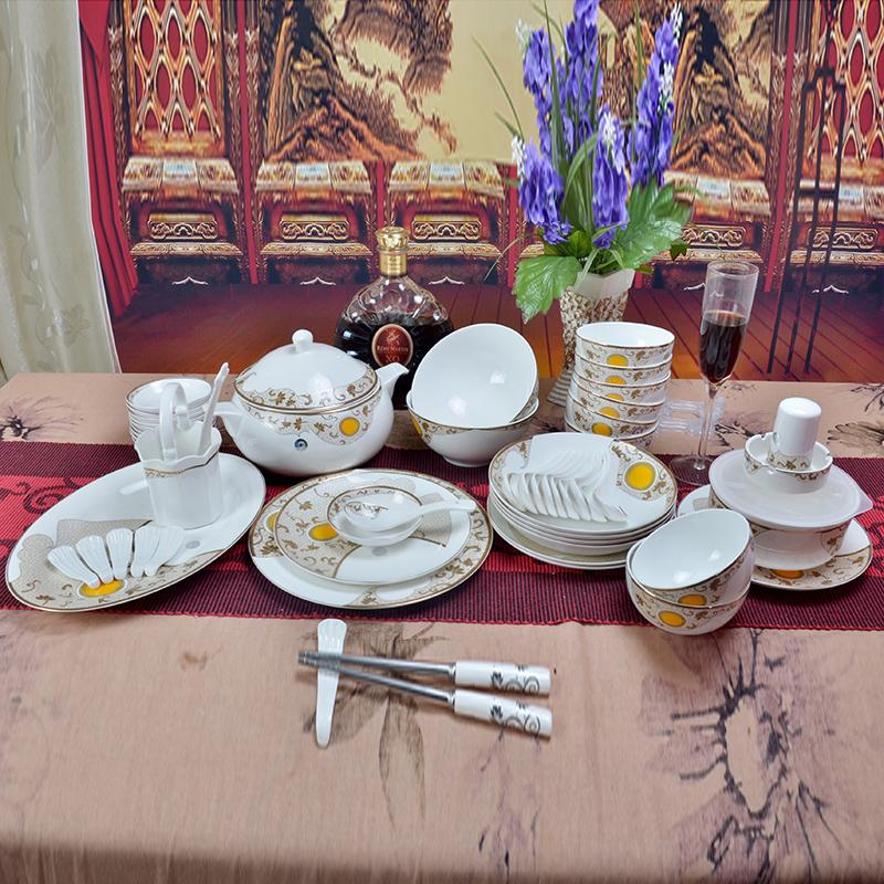 【瑾瑜御瓷】景德镇陶瓷餐具 56头欧式骨瓷餐具套装 爱的华尔兹