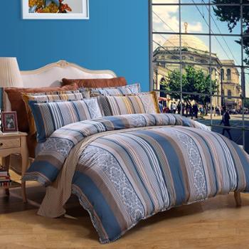 富安娜家纺 馨而乐 全棉斜纹中性简约风床单纯棉四件套 1.8米双人套件