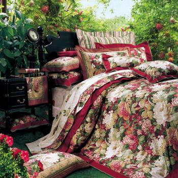 富安娜家纺全棉斜纹印花床单四件套塞纳舞曲