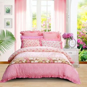 富安娜出品馨而乐家纺床上用品全棉印花四件套爱的晨曲