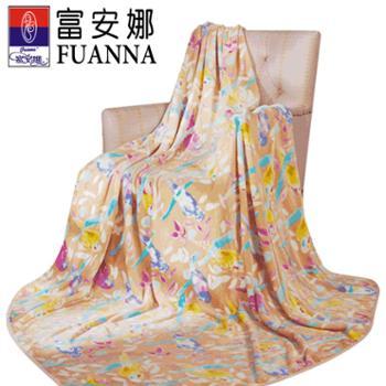 富安娜家纺双人保暖法兰绒毯花舞清影