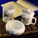 至正青花 凤穿牡丹 茶杯烟灰缸笔筒三件套 ZQH13-206 青花瓷茶杯
