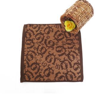 竹道 竹纤维小方巾 咖啡色祥云图案小毛巾 新款加厚儿童毛