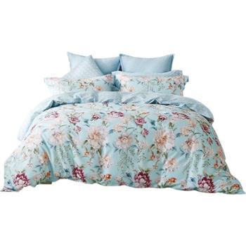 梦洁家纺纯棉磨毛印花四件套裸睡花卉风套件床单被套暖绒 梵花园