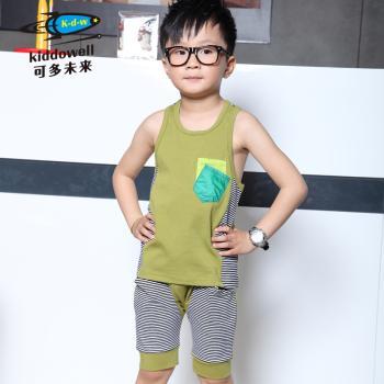 可多未来童装 男童军绿条纹背心 休闲两件套套装