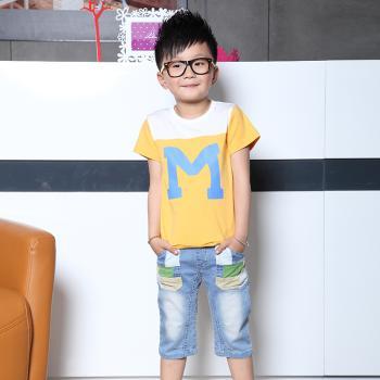 可多未来童装 男款童装儿童短袖T恤纯棉M字套装