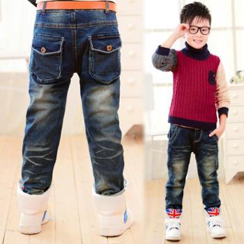 宝宝裤子加厚 2014韩版冬季加绒男大童童裤 男童牛仔裤儿童长裤