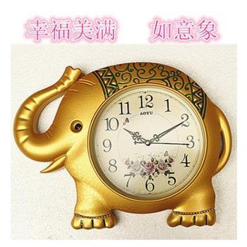 奥宇卡通可爱小象儿童房小孩子房间挂钟客厅钟表卧室超静音挂表
