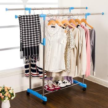 卓立洋双杆晾衣架室内伸缩不锈钢简易衣服架阳台加厚晒衣架落地凉挂衣架