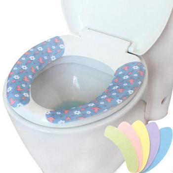魅洁粘贴式马桶垫可反复水洗绒布可爱印花素色三套装