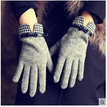 Mismemo千鸟格手套薄款分指五指开车羊毛羊绒优雅百搭女手套秋冬保暖