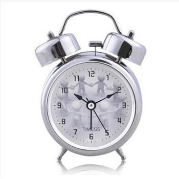 Timess闹钟时尚创意静音打铃钟夜光灯卡通儿童学生闹钟QLRR-809银色