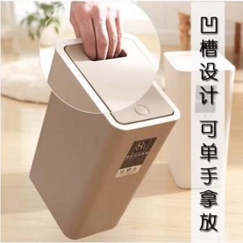 QBN/千百纳创意按压式垃圾桶欧式长方形厨房客厅垃圾筒环保料家用卫生间纸篓