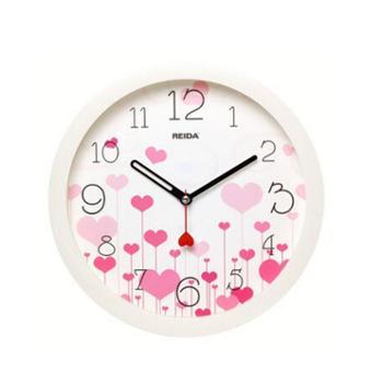 瑞达(REIDA)挂钟 创意时尚时钟超静音8英寸石英客厅卧室挂钟RD2330爱心花色