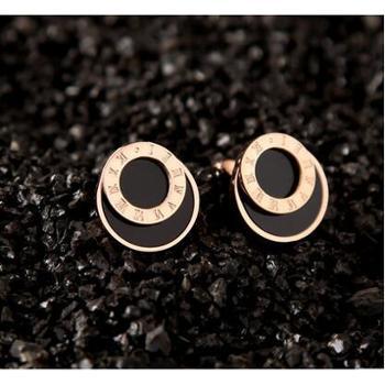 唯酷韩版时尚镀18K玫瑰金钛钢夜店明星同款耳钉女黑色双层耳环耳饰品
