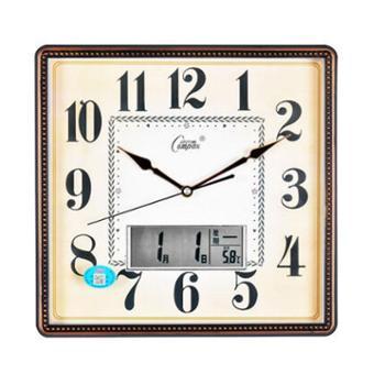康巴丝(COMPAS)挂钟静音现代时尚日历时钟表创意挂表电子石英钟 C2979