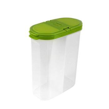 步天翻盖双格厨房五谷杂粮储物罐干货收纳塑料防潮食品密封保鲜盒