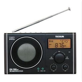 德生(Tecsun)CR-1100DSP 收音机 老年人 半导体 数字解调 立体声 校园广播 时钟数字显示 4寸喇叭音效好