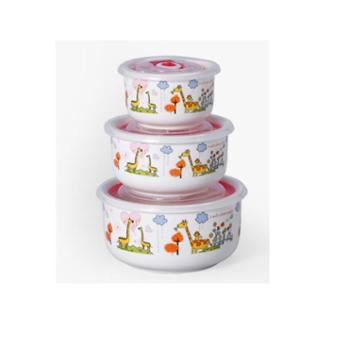 天奕高档陶瓷饭盒 微波炉饭盒便当盒保鲜碗 陶瓷饭盒三件套 款式随机