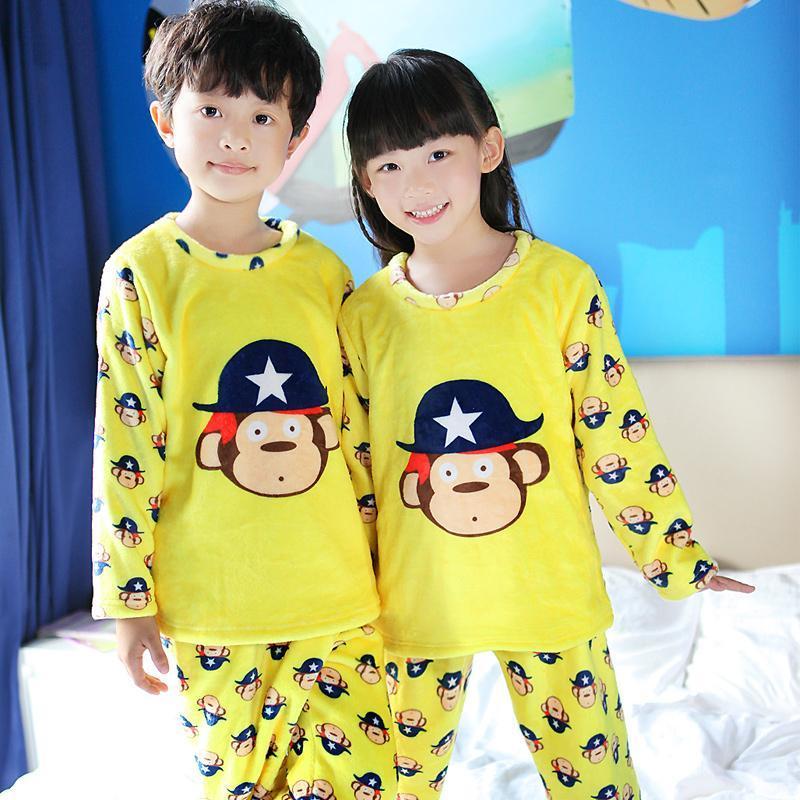 gz-冬天法兰绒儿童睡衣加厚款男童女童可爱卡通家居服套装小孩睡衣